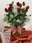 12 Red Roses with Babys Breath from Designs by Dennis, florist in Kingfisher, OK