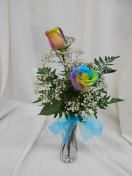 Double Rainbow Rose Budvase from Designs by Dennis, florist in Kingfisher, OK