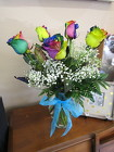 6 Rainbow Roses  from Designs by Dennis, florist in Kingfisher, OK