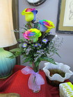 Triple Rainbow Rose Budvase from Designs by Dennis, florist in Kingfisher, OK
