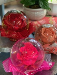 Keepsake Rose under glass from Designs by Dennis, florist in Kingfisher, OK