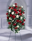 Crimson & White Standing Spray from Designs by Dennis, florist in Kingfisher, OK