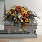 The Colorful Memory Casket Spray from Designs by Dennis, florist in Kingfisher, OK