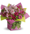 Teleflora's Pretty Pink Present from Designs by Dennis, florist in Kingfisher, OK